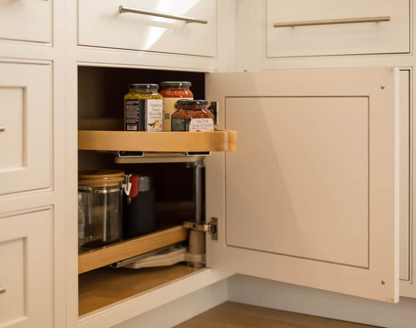 Organization and storage under cabinet swing out lazy susan