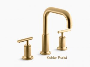 Best Kitchen and bath trend gold metal Kohler Purist Brushed gold