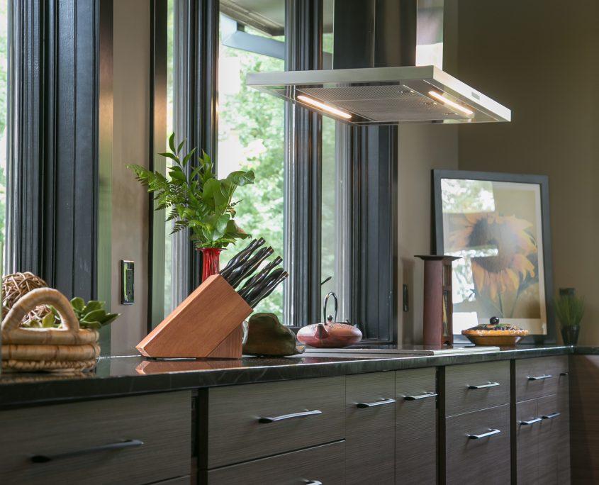 Contemporary kitchen cabinets Plato Woodwork dark finish stainless steel range hood jpg
