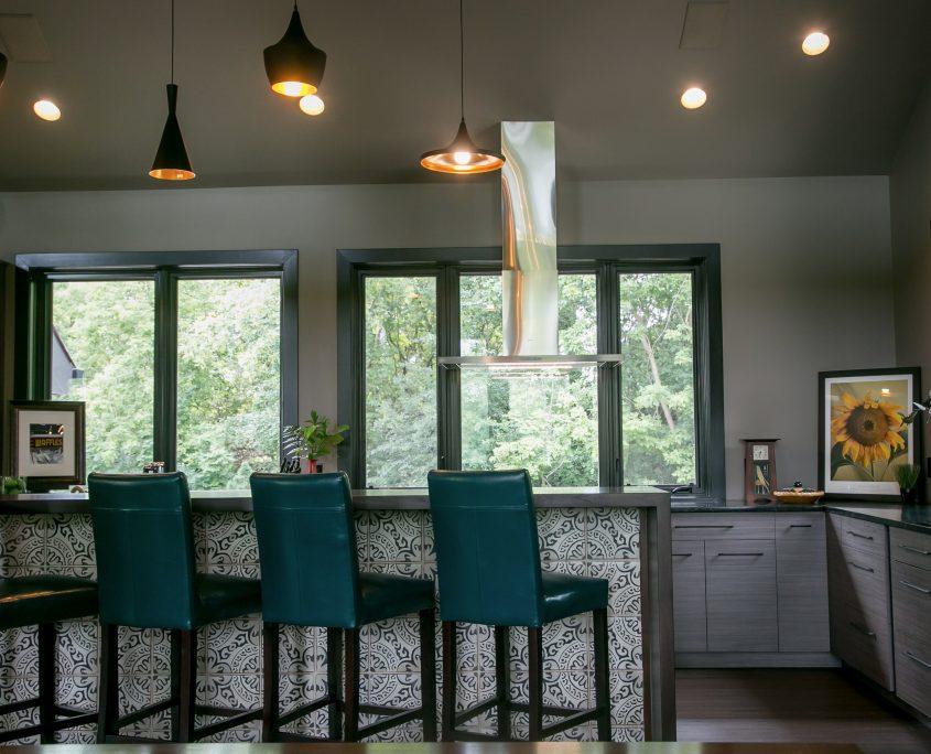 Contemporary kitchen island waterfall top artistic tile modern cabinets window wall jpg