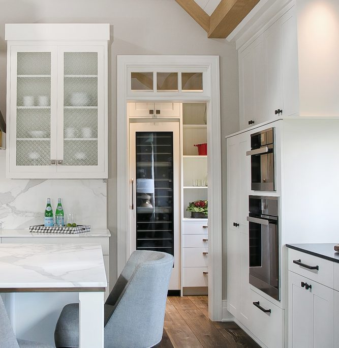 Farmhouse Plato Kitchen Cabinetry Display Refrigeration Ovens Hardware Island Seating White with natural wood stain