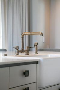 Farmhouse Plato Kitchen Cabinetry Apron Front Sink Brass faucet Industrial Hardware