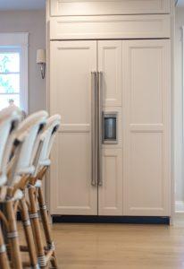 Kitchen rennovation refrigerator panel cabient