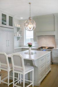 Lake House Kitchen Cabinetry kitchen island drawers refrigerator panels open shelves shelving