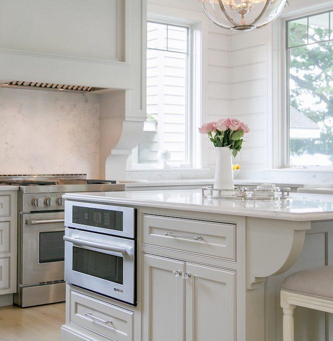 Lake House Kitchen Cabinetry kitchen island microwave range hood stove kitchen d