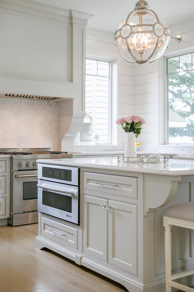 Lake House Kitchen Cabinetry Kitchen Island Microwave