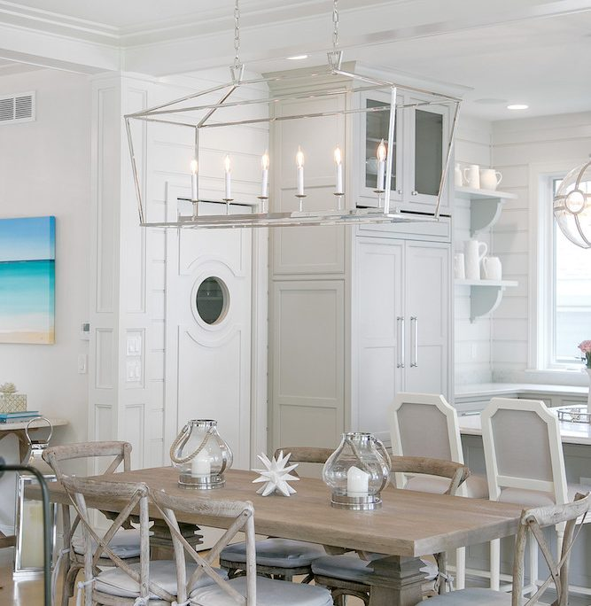 Lake House Kitchen Cabinetry open kitchen dining area lighting
