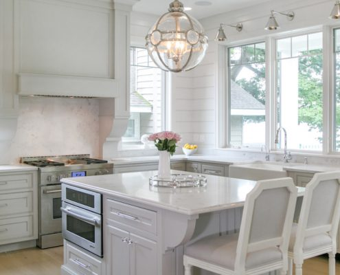 Lake House kitchen cabinetry white gray finish