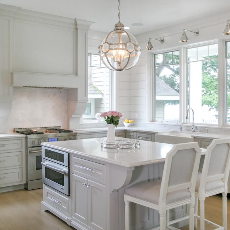 Lake House Kitchen Cabinetry White Gray Finish