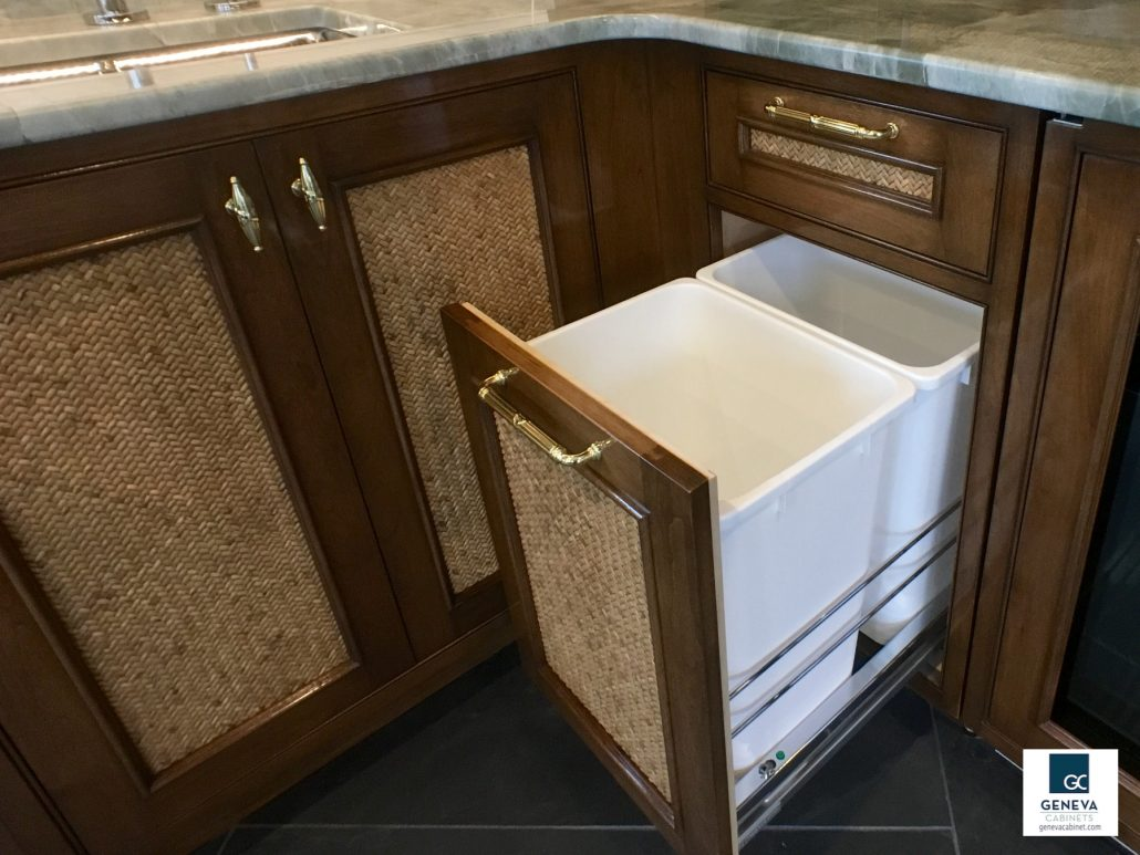 holiday kitchen preparations pull out trash bin Plato Woodwork cabinetry double recycle cabinet door front with insert of woven fiber