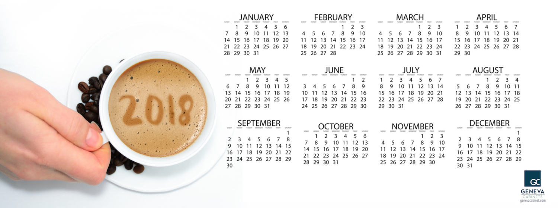 2018 calendar from Geneva Cabinet Company