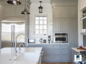 Geneva Cabinet Company kitchen cabinet storage wall keeps kitchen open cluster tall cabinets together