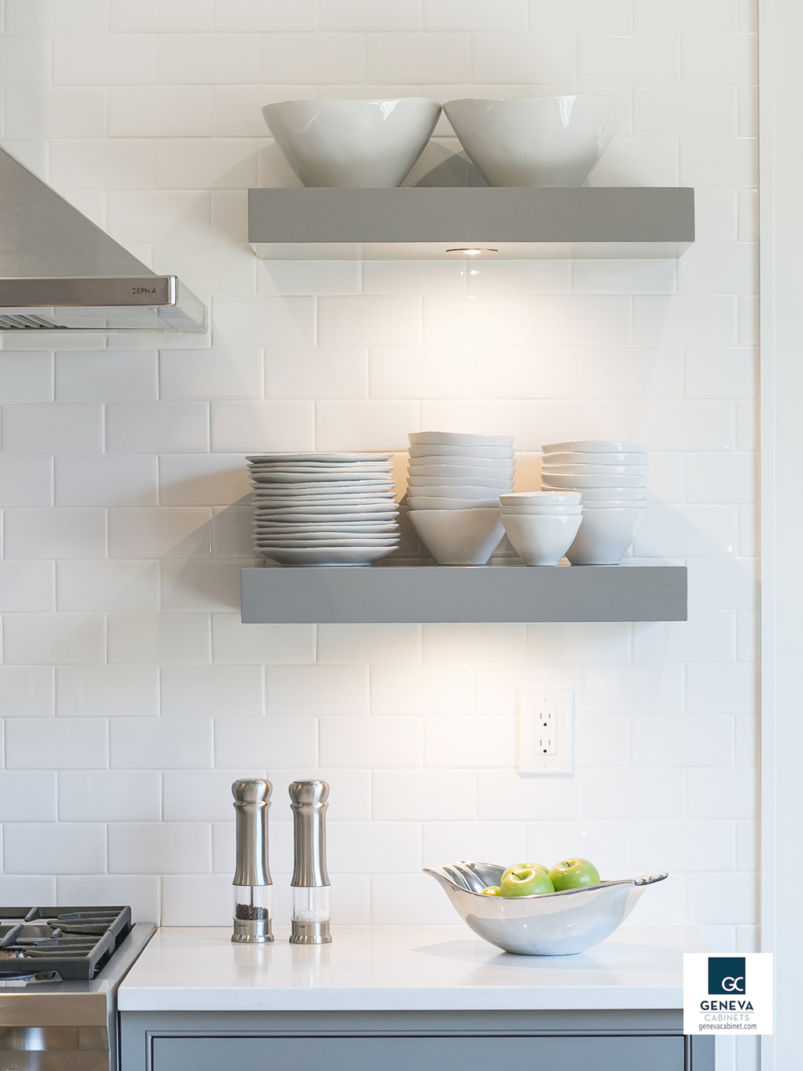 Geneva Cabinet Company Lake Geneva Wi Kitchen shelving open shelving floating shelves with lighting