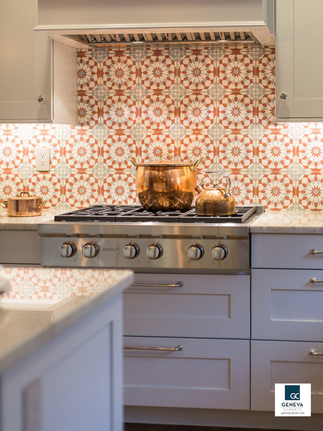 Geneva Cabinet Company Trends 2018 statement backsplash with artisan tile
