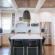 Geneva Cabinet Company kitchen with new island Plato Cabinetry