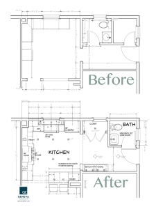 Kitchen Remodel floor plan before and after by Geneva Cabinet Company LLC