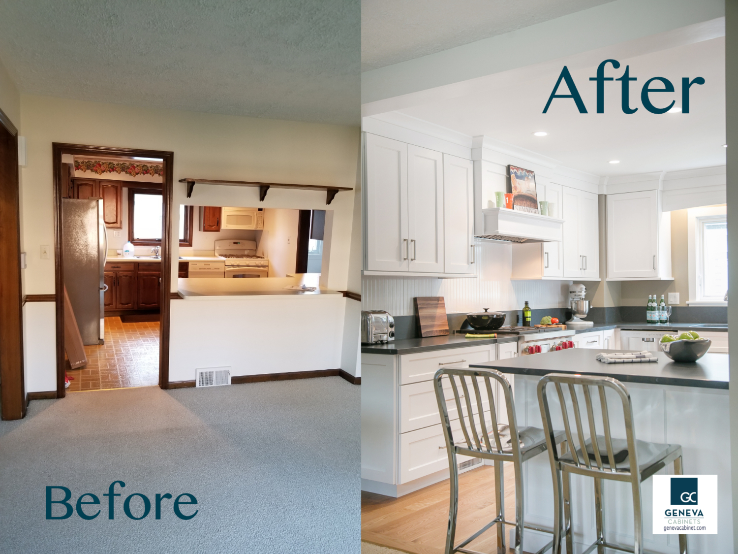 Kitchen remodel by Geneva Cabinet Company before and after view