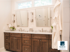 Double vanity double duty bathroom cabinet by Medallion Cabinetry