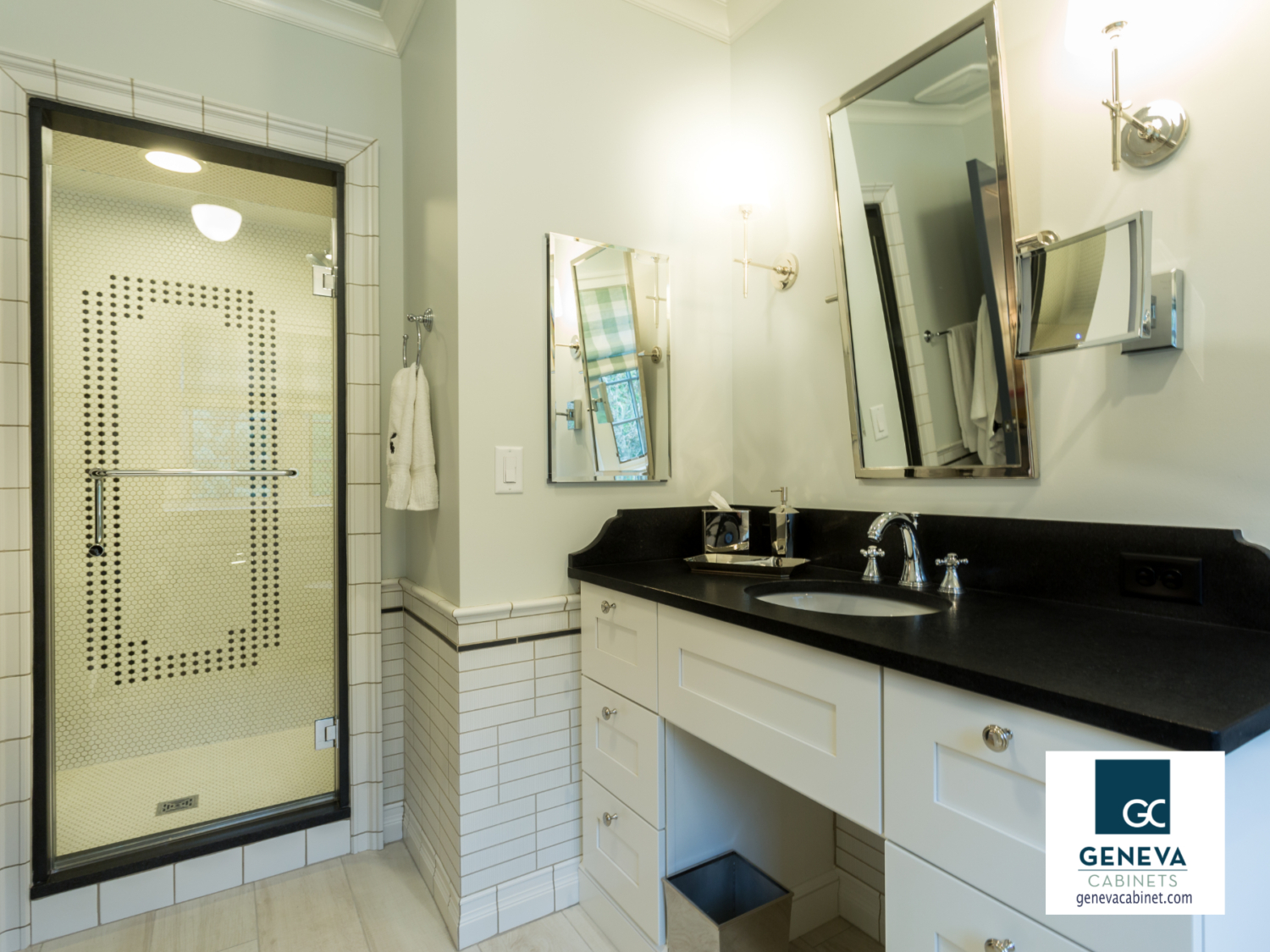 Classic black and white contrast cabinet and shower tile