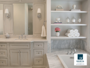 Shiloh cabinetry with open shelving above tub