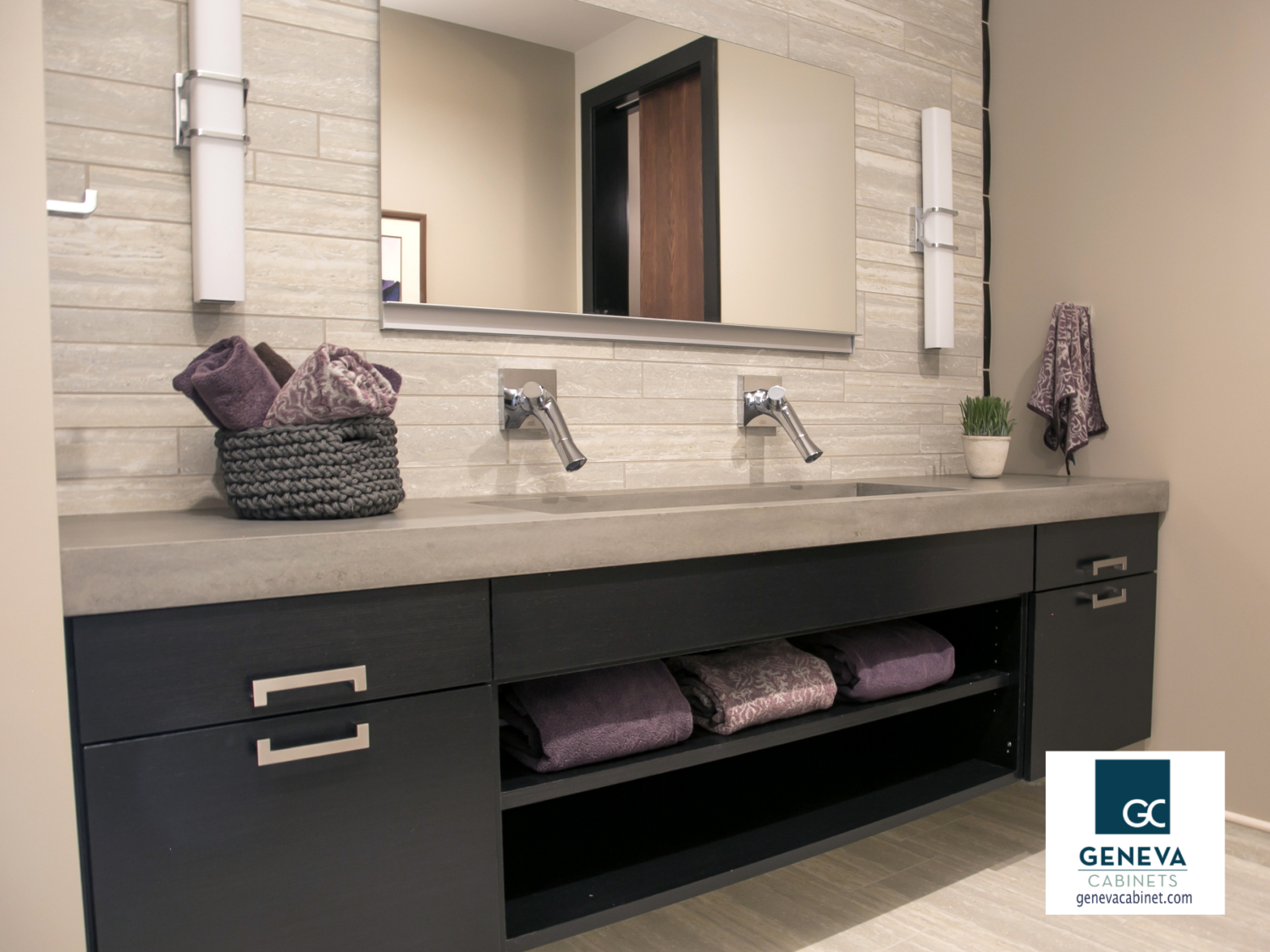 Bathroom cabinetry sleek modern dark stained finish