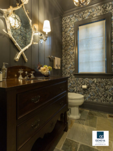 DRAMATIC READING room with furniture inspired vanity