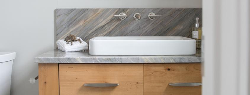 Plato Woodwork open shelf bathroom vanity cabinet