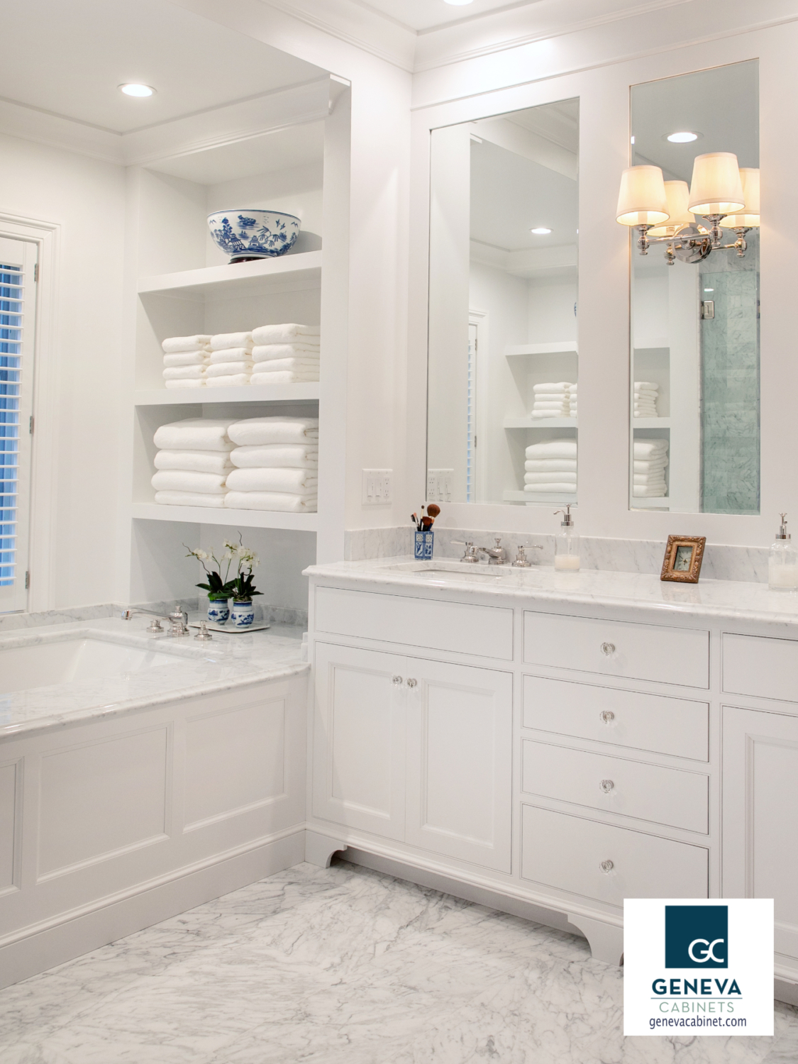 French Country Bath Vanity With Shelving Above Tub Geneva Cabinet Company Llc