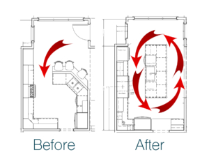 before and after kitchen design drawings